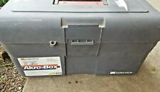 "Akro Mils Gray plastic Tool Box 17""  LIFETIME WARRANTY on tag"