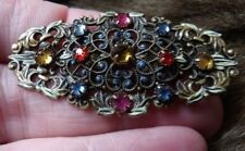 Stamped Filigree Gurtler Enamel Brooch Sm34 Art Deco Gablonz Multi Glass Czech