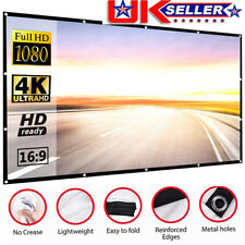 """HD Projection Screen Home Cinema Pull Down Projector 16:9 72""""80""""100"""" UK STOCK"""