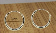 925 Sterling Silver Sleeper Earrings,10 mm diameter- Hinged - Unisex