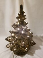 70's Vintage Atlantic Mold Ceramic Bronze Golden Christmas Tree 16 in. With Base