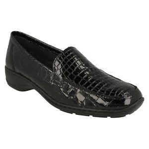 LADIES RIEKER 583A0 FLAT HEEL PATENT LEATHER CROC LOAFER SHOES DRESS CASUAL SIZE