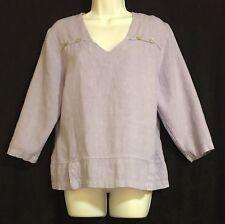 Mosaic 100% Linen 3/4 Sleeve Lavender Lagenlook Tunic Blouse Small