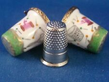 Thimble Holder - Green Accent -  Sewing Decor - Thimble - FRENCH LIMOGES box