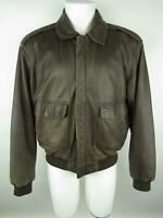 Orvis Men's sz L VINTAGE Brown Leather Full Zip Pockets Lined Bomber Jacket