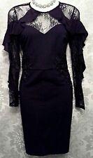 LIPSY SIZE UK 8 BLACK LACE RUFFLE SLEEVE BODYCON DRESS BNWT @ NEXT £65  / 7950