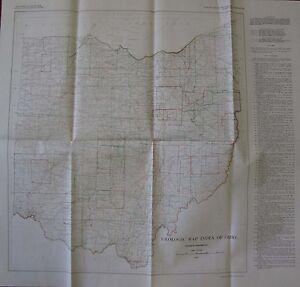 Folded Geological Index Map Ohio Columbus Cincinnati Cleveland Toledo 1949