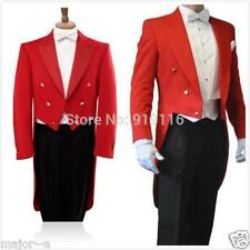 2018 New Tailcoat Groom Red 3 Pieces Men Wedding Tuxedos Formal Prom Suit Custom