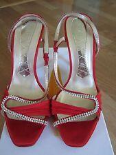 Magrit Red Swarovski Elements Rhinestones Sandals Heels Shoes Size 39.5