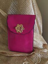 Bolsa De Color Rosa Imitación Cuero Bandolera Hombro Bolsa De Pasaporte Móvil Tono Oro Nuevo