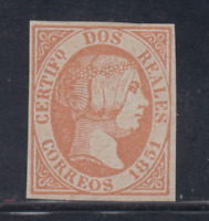 SPAIN (1851) - MINT - Sc# 8 - EDIFIL 8 (2 r) FORGERY - LOT 1