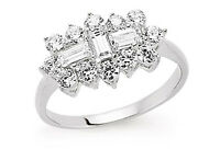 Boat Ring Boat Cluster 3 Carat Engagement Ring Platinum Plated Sterling Silver