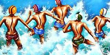 beach surf life saving abstract art print painting coa authentic by andy baker