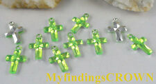 400 pcs Green cross acrylic charms W1770