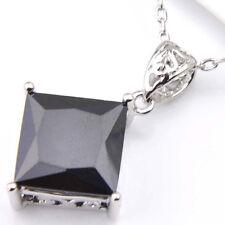Handmade Jewelry Square Cut Black Onyx Gems Silver Necklace Pendants Free Chain