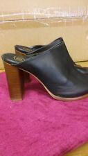 River Island Black wooden block heel mules