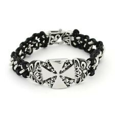 Iron Cross Fleur De Lis Stainless Steel And Leather Biker Bracelet