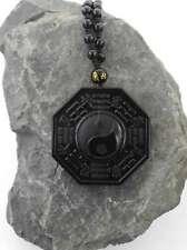 Chinesische Yin Yang Halskette Obsidian Edelstein Anhänger Kette AsienLifeStyle