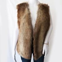 Rachel Zoe Womens Large Brown Gold Faux Fur Vest Satin Back