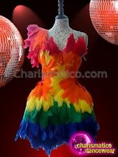 Diva's Asymmetrical Corset Based Rainbow Feathered Gay Pride Dolly Dress