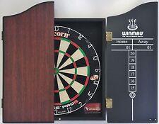 Unicorn Eclipse Pro 2 Dart Board & Winmau Rosewood Wooden Cabinet + 6 x Darts