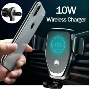 Wireless Car Charging Charger Automatic Mount Clamping Phone Holder For Apple UK
