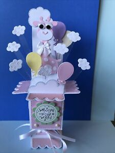 BABY GIRL WELCOME TO THE WORLD  - 3d POP UP BOX CARD