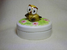 Vintage Ceramic Owl Two-Piece Lidded Trinket Box By Quon Quon Japan Collectible