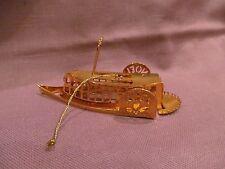 Gold Tone Metal 3D Art Riverboat Ornament Noel Paddle Boat