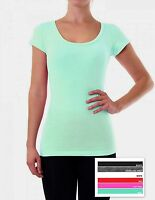 Womens Fitted Cotton Blend Short Sleeve Scoop Neck Tee T Shirt 12 14 16