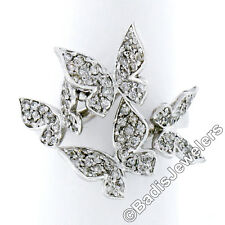18K White Gold 1.25ctw Round Pave Set Diamond 4 Flying Butterfly Cocktail Ring
