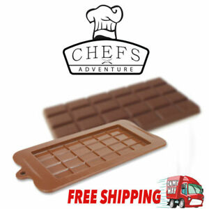 Chocolate Mold Mould Bar Break Apart Choc Block Ice Tray Silicone Cake Bake Mold