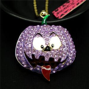 Betsey Johnson Purple Rhinestone Halloween Pumpkin Pendant Chain Necklace Gifts