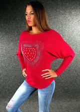 Zazou sexy Damen Pullover S M L XL Weiß Rot Grau Schwarz Rosa Apricot Blau 2502