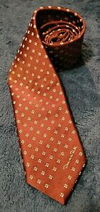 """Oscar De La Renta TIE Mens Logo Vintage Polyester Red 1970s 54"""" x 3"""""""