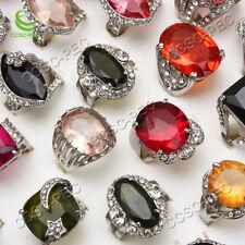 Wholesale Jewelry Lots 50X cristal strass plaqué argent anneaux livraison gratuite