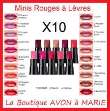 10 Minis Rouges à Levres TRUE COLOUR AVON : Scintillant, Nacré et Crémeux