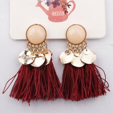 Women Fashion Vintage Tassel Earrings Bohemian Dangle Alloy Resin Ear Pendant
