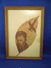 Vintage Leaf Skeleton Art of Charles Lindbergh Spirit of St. Louis Plane Framed