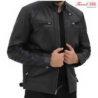 Men's Black Classic Leather Jacket Biker Motorcycle Style Leather Jacket Coat