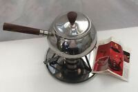 vintage  retro stainless steel metal  fondue pot brown wood handle