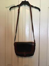 Vintage Bally Flap Purse Shoulder Bag Handbag Black Brown Leather crossbody