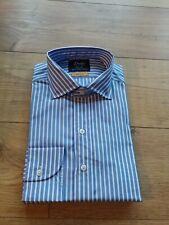 Drake's  Bengal Stripe Blue Formal Shirt size 15.5UK 39EU Regular Fit UPDATE