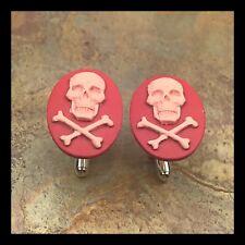 New Cufflinks Pink Badass Skull 💀 Crossbones Modern Resin Cameo Silvertone F12
