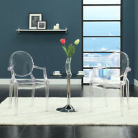 Transparent Modern Crystal Dining Accent Armchair in Clear