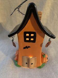 Vintage Haunted Halloween Witches House Tea Light Fairy Lamp Ceramic Bats + Bats