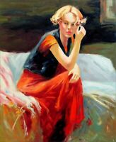 Quality Hand Painted Oil Painting, Contemplation Repro, 20x24in