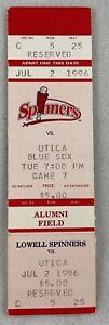 MiLB 1996 07/02 Utica Blue Sox at Lowell Spinners Baseball FULL Ticket
