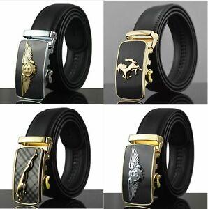 Limited Edition Mens Black Leather Belt with Bentley Jaguar Gold Silver Buckle