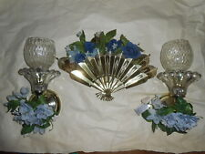 2 Home Interior Brass & Glass Sconces with Votive Cups and Blue Flower Rings